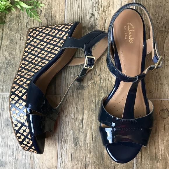 858fc528886 Clarks Shoes - Clark s Amelia Roma Women Navy Blue Wedge size 10M